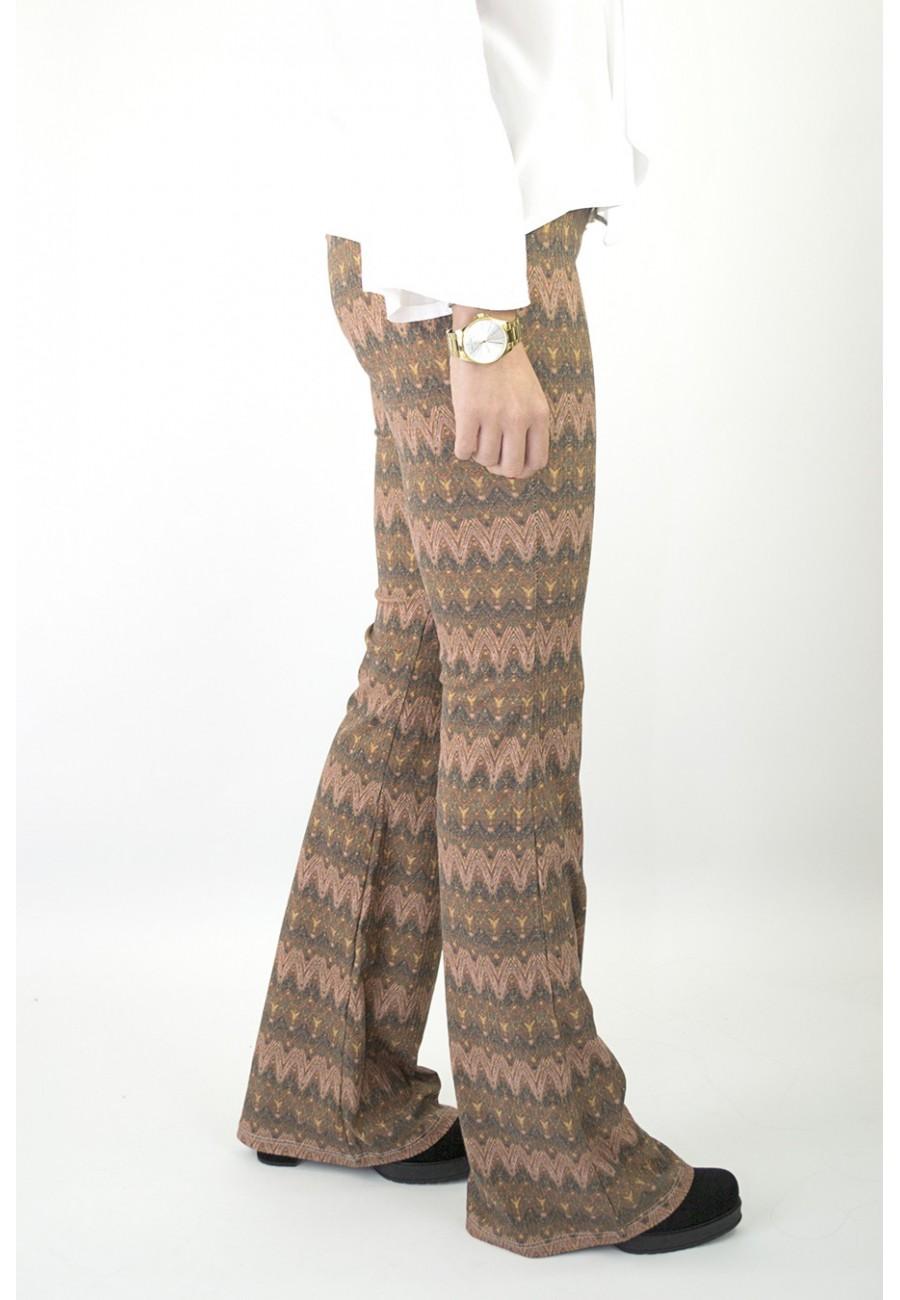 Pantalón campana zig-zag