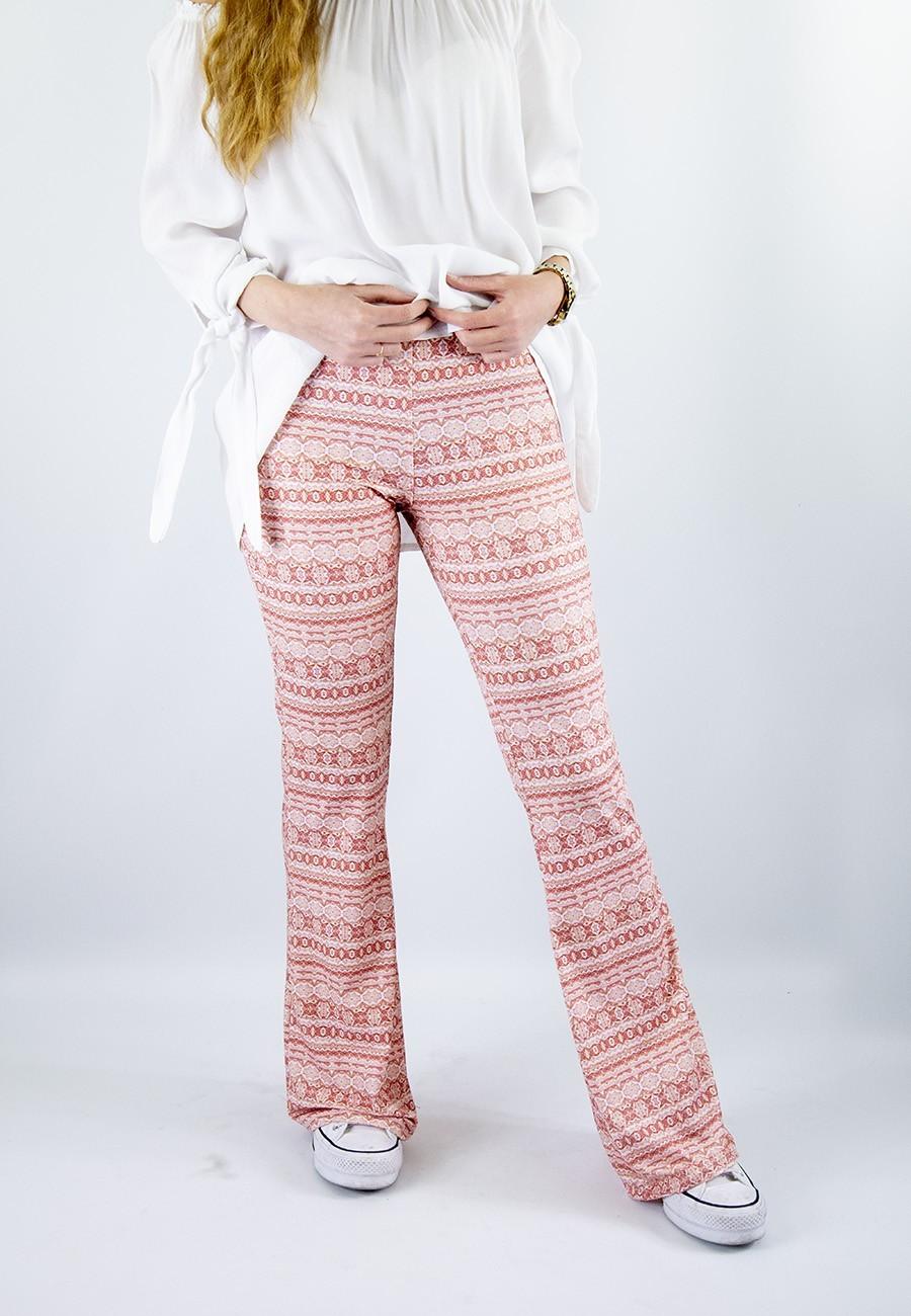 Pantalón sirio campana coral