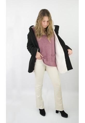 Chaqueta sudadera capucha pelito blanco